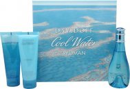 Davidoff Cool Water Gavesæt 100ml EDT + 75ml Body Lotion + 75ml Shower Breeze