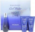 Davidoff Cool Water Night Dive Woman Gavesæt 50ml EDT + 50ml Body Lotion + 50ml Shower Gel