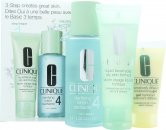 Clinique 3-Step Skincare Gavesæt 50ml Liquid Facial Soap Oily Skin Formula + 100ml Clarifying Lotion 4 Oily + 30ml Dramatically Different Moisturizing Gel Combination Oily To Oily