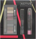 Active Cosmetics Instant Glamour Kit Gavesæt 6.5ml Mascara + 8 x 1.5g Øjenskygger + 3.3g Lip Crayon + Dobbeltendet Applikator