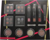 Active Cosmetics Colour Masterclass Sæt 4 x 10.24g Quad Øjenskygger + 2 x 3.58g Blusher + 1.79g Bronzer + 1.79g Highlighter + 3 x 7.8g Læbe Crayon + 6.8ml Black Mascara + 2 x Dobbeltendet Applikators