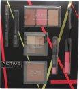 Active Cosmetics Glamour To Go Gavesæt Eye Liner Pencil + 6.5ml Mascara + 4 x 2.5g Øjenskygger + 10g Bronzer + 2 x 6g Blusher + 6g Highlighter + 10.5ml Lip Gloss + 3.3g Lip Crayon + Applicator