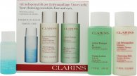 Clarins Cleansing Essentials Gavesæt - Fedtet/Kombineret Hud 30ml Instant Make Up Remover + 100ml Anti Pollution Cleansing Milk + 100ml Toning Lotion