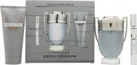 Paco Rabanne Invictus Gavesæt 100ml EDT Spray + 100ml Shower Gel + Mini 10ml EDT