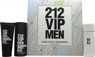Carolina Herrera 212 VIP Men Gavesæt 100ml EDT + 100ml Bath & Shower Gel + 150ml Deodorant Spray