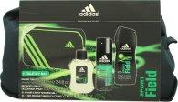Adidas Sport Field Gavesæt 100ml EDT + 150ml Body Spray + 250ml Shower Gel + Taske