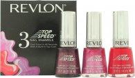 Revlon Top Speed Nail Enamels Gavesæt 3 x 14.7ml (Orchid - Fire - Sugar Plum)