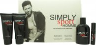Simply Sport Homme Gavesæt 100ml EDT + 100ml Aftershave Balm + 100ml Hair & Body Wash + 15ml EDT