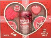 I Love... A Big Box Of Love Raspberry & Blackberry 500ml Bubble Bad + 100ml Sugar Scrub + 100ml Body Butter + 10ml Læbepomade + 60g Sæbe + Svamp